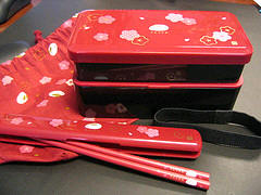 dark pink usagi bento set